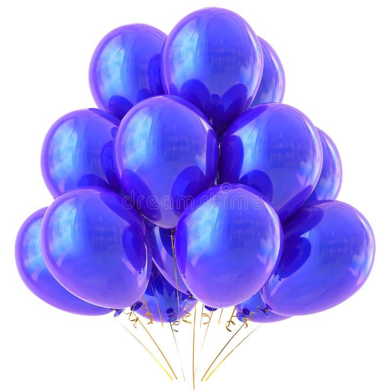 Blue balloon party happy birthday decoration stock illustration