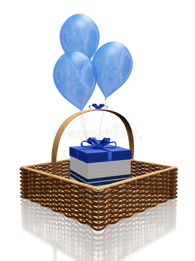 Blue Balloons and Gift in Basket. This 3D illustration is of a gift box with blue bow and ribbon, placed in a straw knit square shaped basket, with blue balloons stock illustration