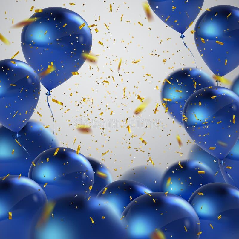 Blue balloons and golden confetti. stock illustration
