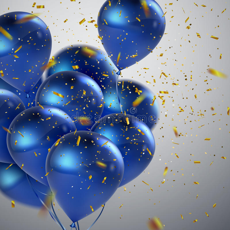 Blue balloons and golden confetti. royalty free illustration