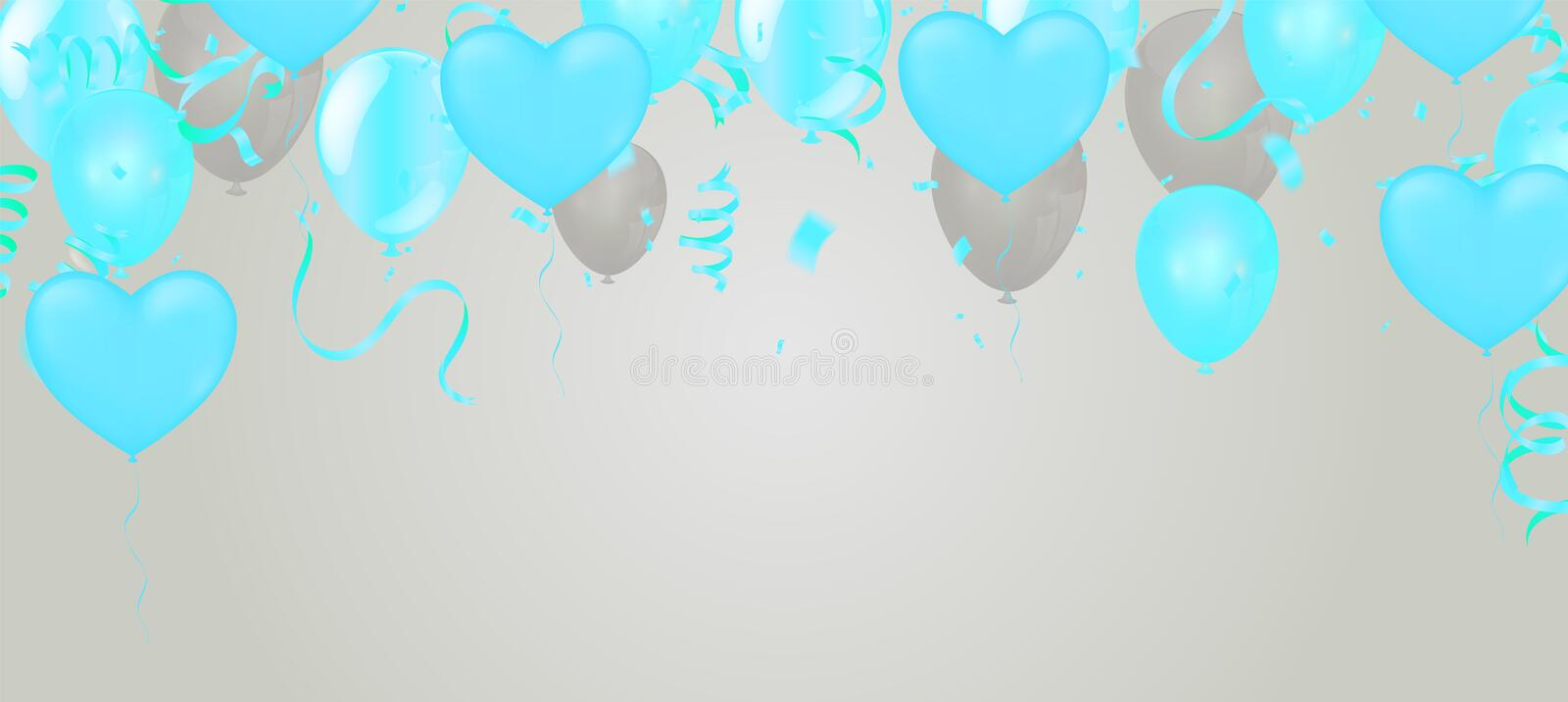 Blue balloons with Many colored balloons for designers and illustrators. Balls backdrop , festival, wedding vector illustration