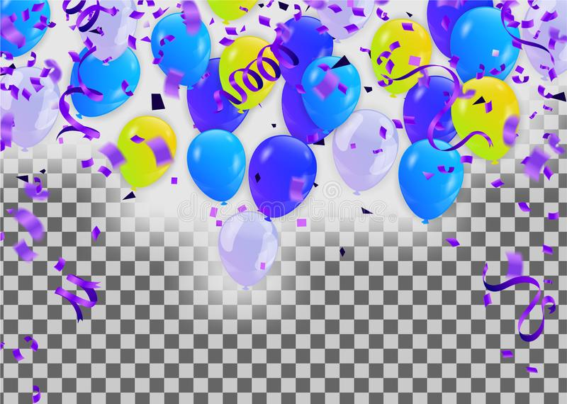 Blue balloons with Many colored balloons for designers and illustrators. Balls backdrop , festival, wedding stock illustration