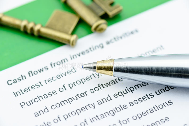 Blue ballpoint pen on a statement of cash flows in the part of cash flows from investing activities. royalty free stock photo