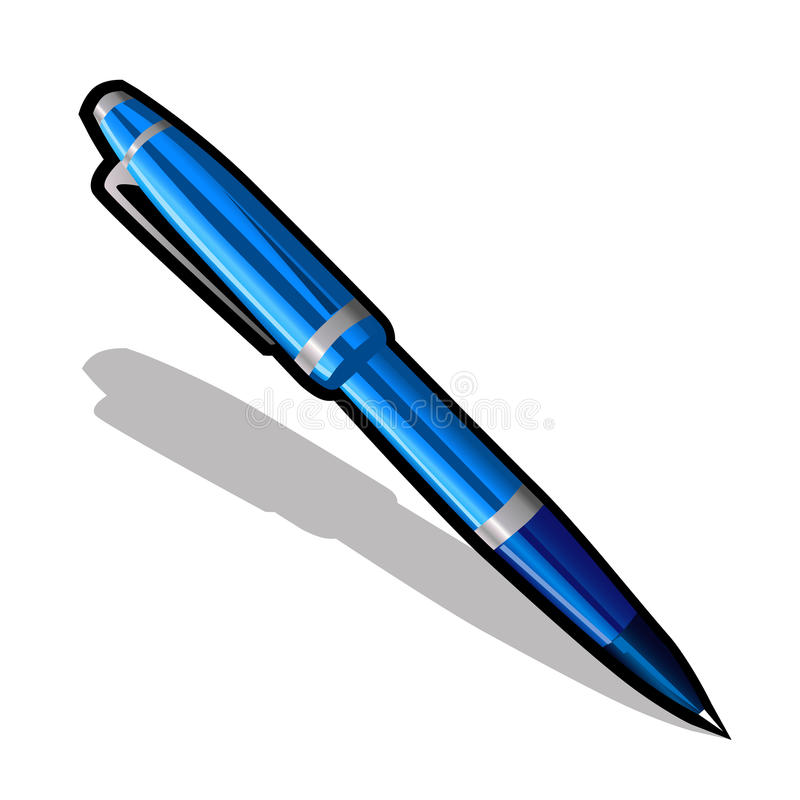 Blue ballpoint pen on a white background. Vector icon royalty free illustration