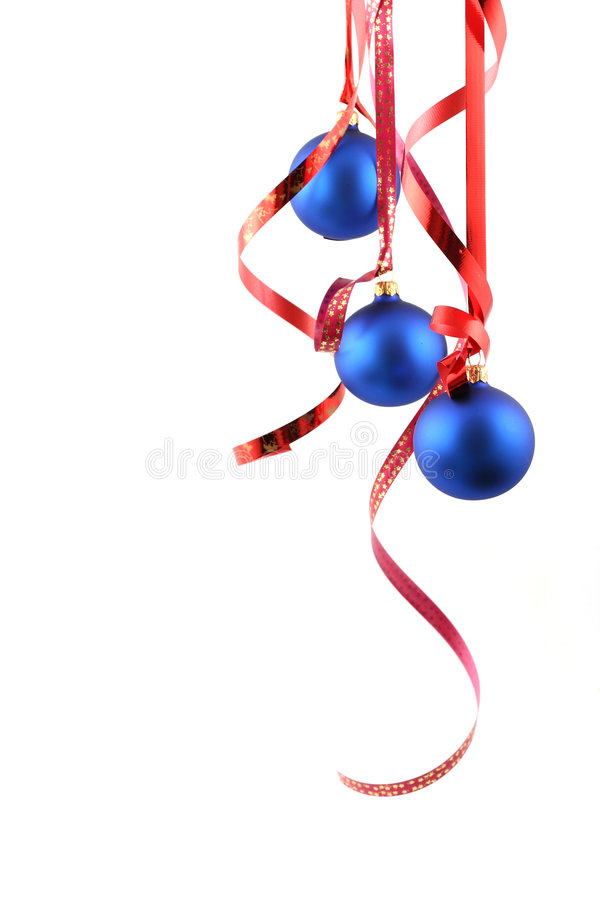 Blue balls - Christmas decoration. Blue balls on white background - Christmas decoration royalty free stock photo