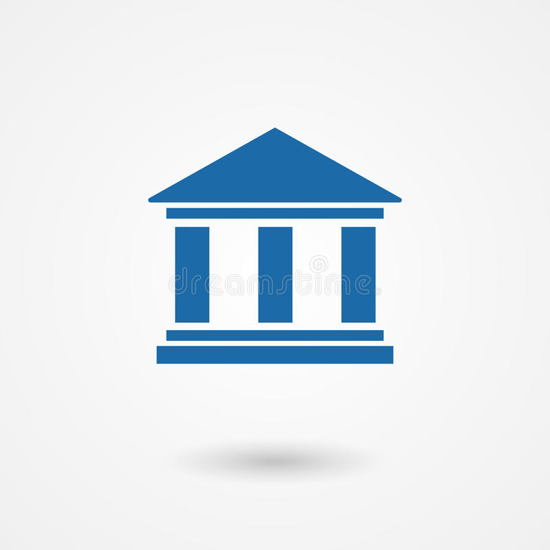 Blue bank icon. In flat style with the building facade with three pillars vector illustration