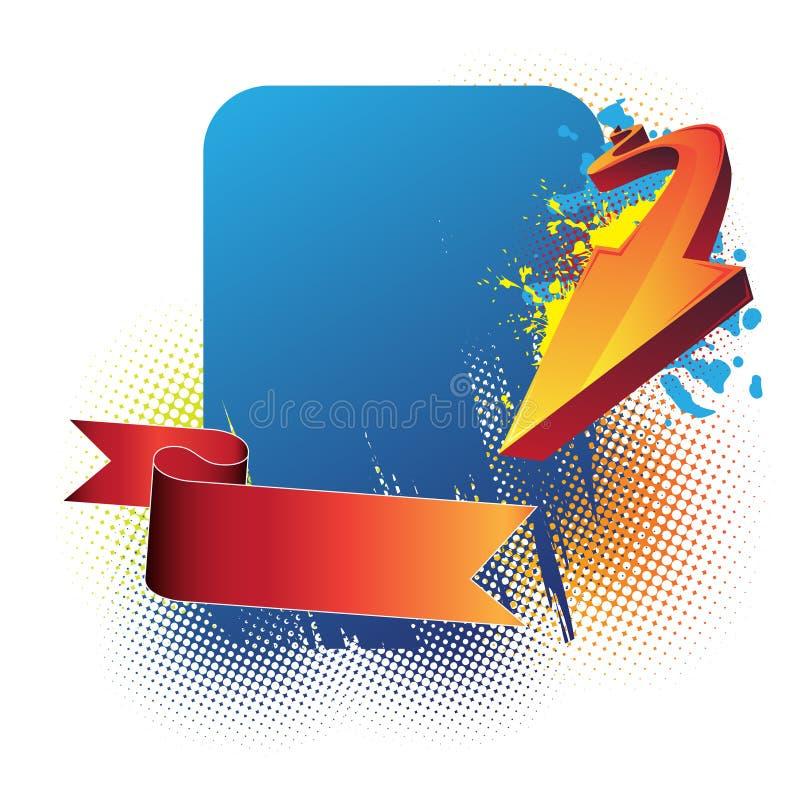 Blue banner, arrow and ribbon vector illustration