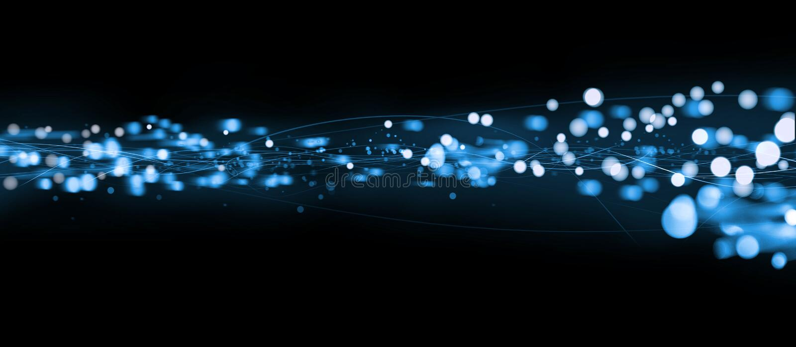 Blue banner artwork. A blue background of dancing lights and tapes. Suitable for web banner