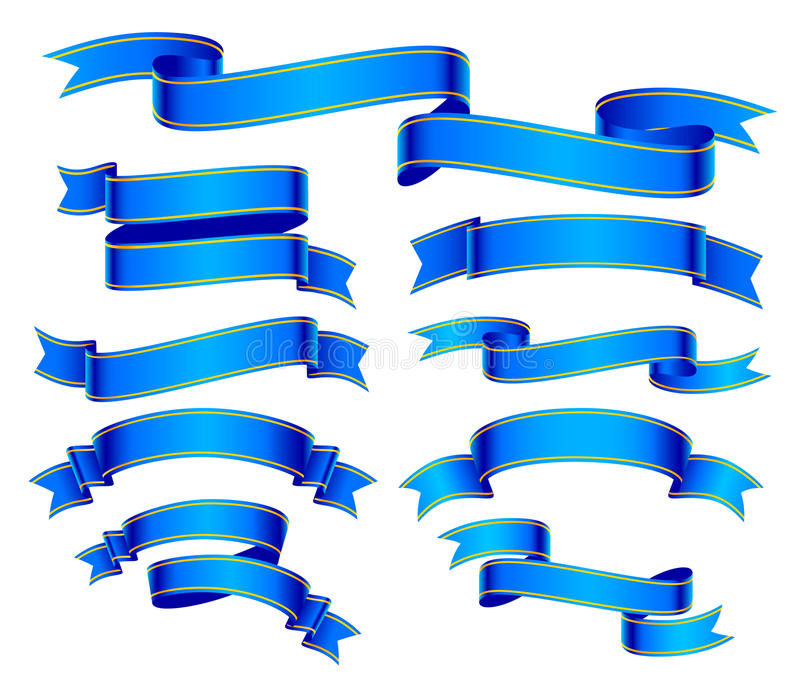 Blue banners set vector illustration