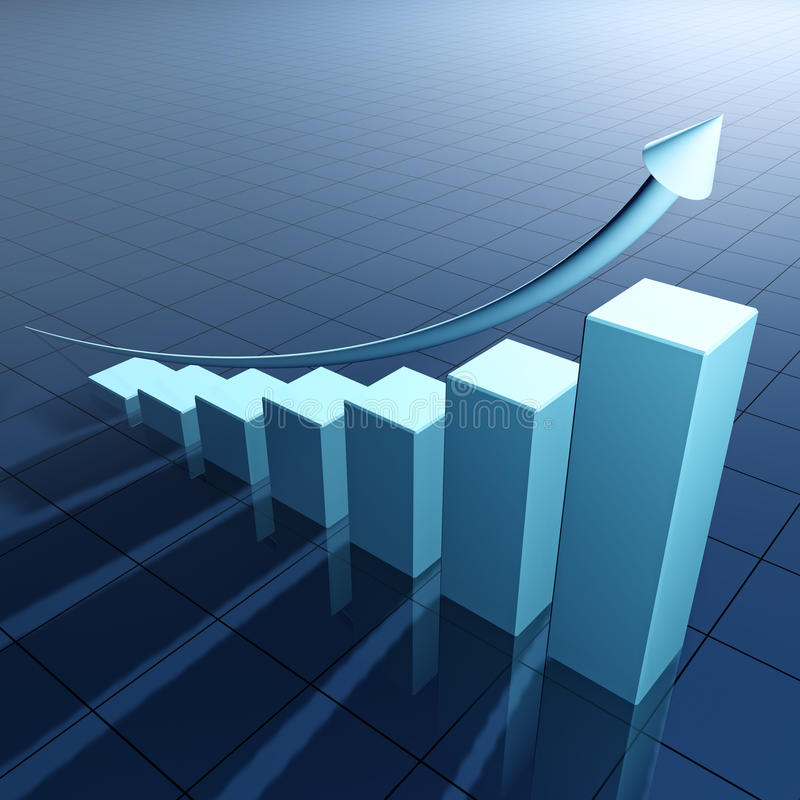 Blue bar chart and arrow with steep growth stock illustration