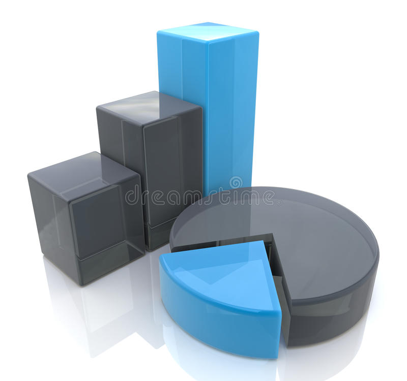 Blue bar and pie graph stock images