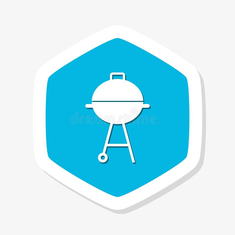 Blue Barbecue grill sticker icon isolated. BBQ grill party royalty free illustration