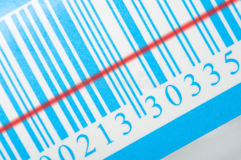 Blue barcode with laser strip royalty free stock images