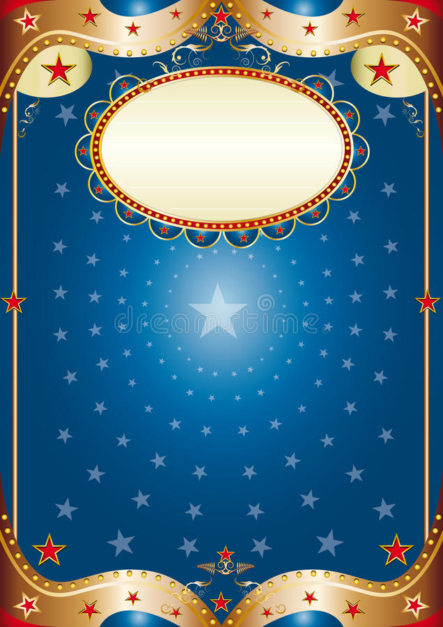 Blue baroque frame. A blue poster for your party stock illustration