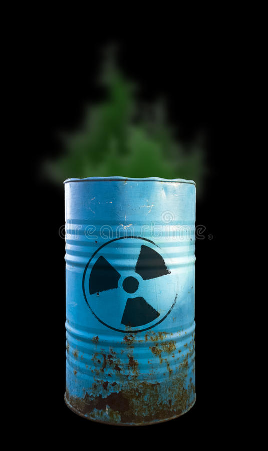 Blue barrel of toxic waste isolated. Acid in barrels. Beware of royalty free stock photo