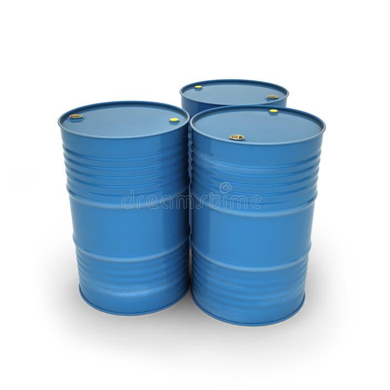 Blue barrels on a white background stock illustration