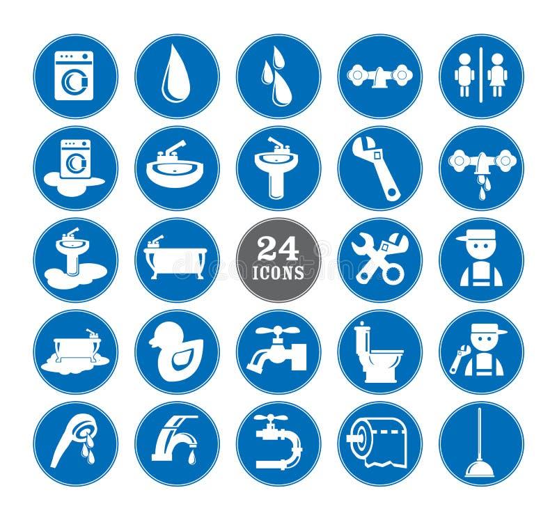 Download Blue bathroom Icons Set stock vector. Illustration of plumber - 32464634