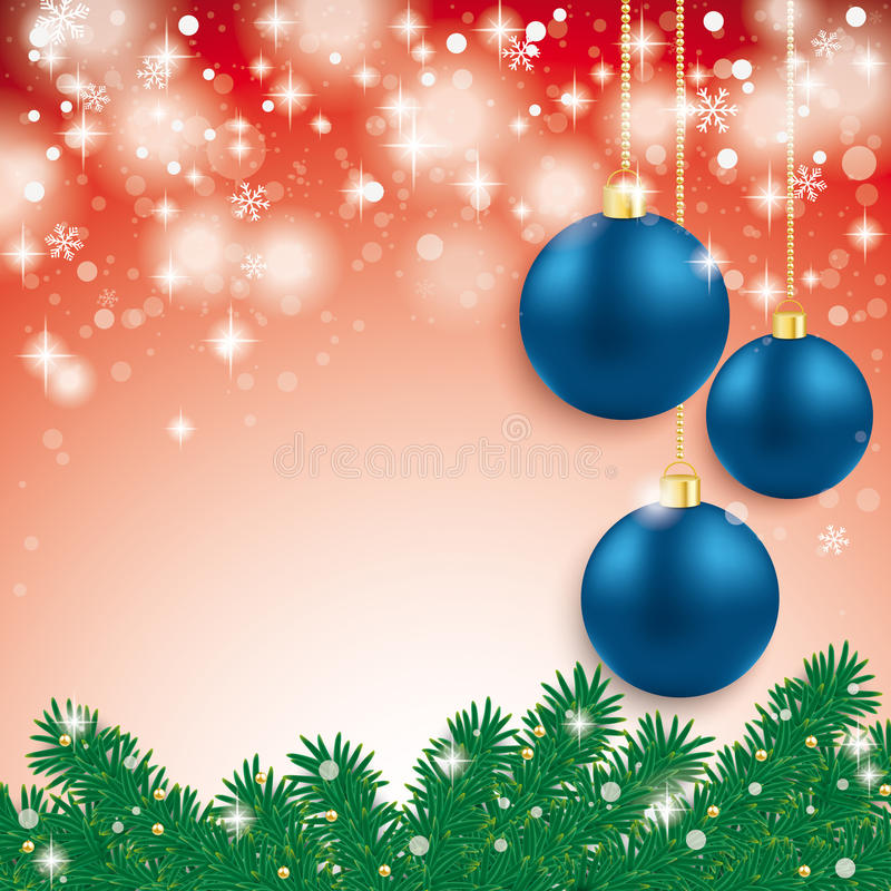 Blue Baubles Light Fir Branch Red Background stock illustration