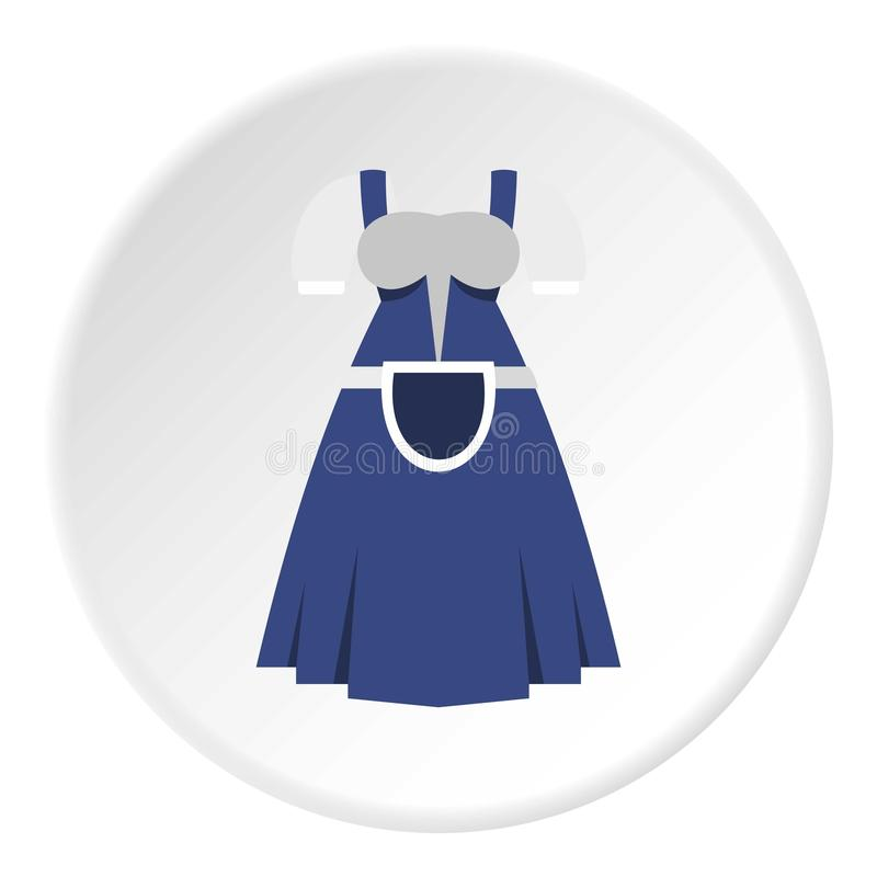 Blue Bavarian dress icon circle. Blue Bavarian dress icon in flat circle isolated vector illustration for web stock illustration