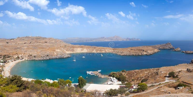 Blue bay of Lindos, Rhodes. Blue bay of Lindos, Rhodes - Greece royalty free stock photos