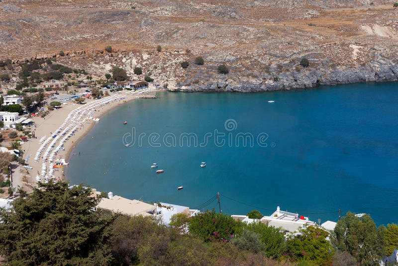 Blue bay of Lindos, Rhodes. Blue bay of Lindos, Rhodes - Greece stock photos
