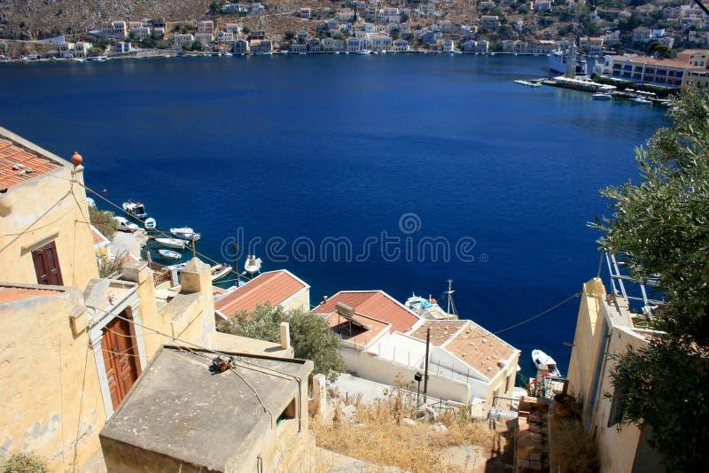 Blue bay in Symi island, Greece royalty free stock photography
