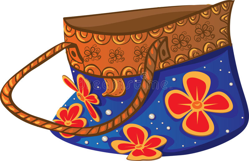 Download Blue Beach Bright Bag With Flowers Handmade Stock Vector - Image: 14683107