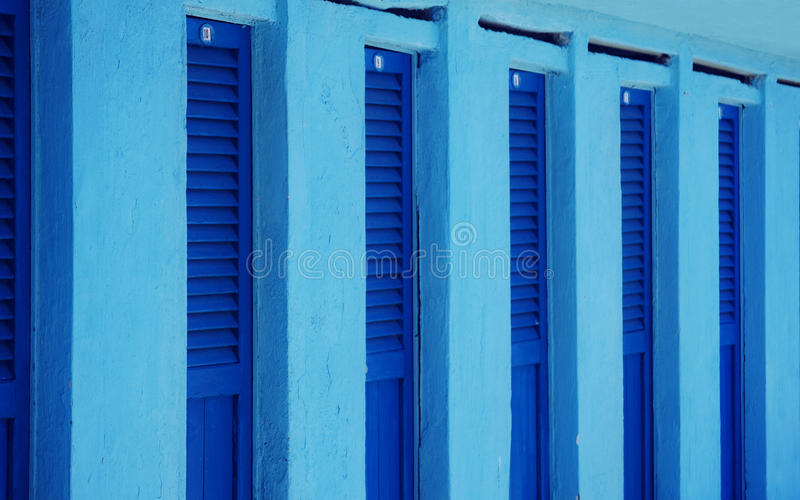 Download Blue beach changing rooms stock photo. Image of wooden - 41833524