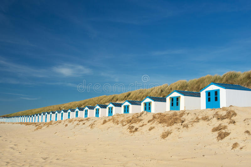 Download Blue beach huts at Texel stock image. Image of wadden - 32437949