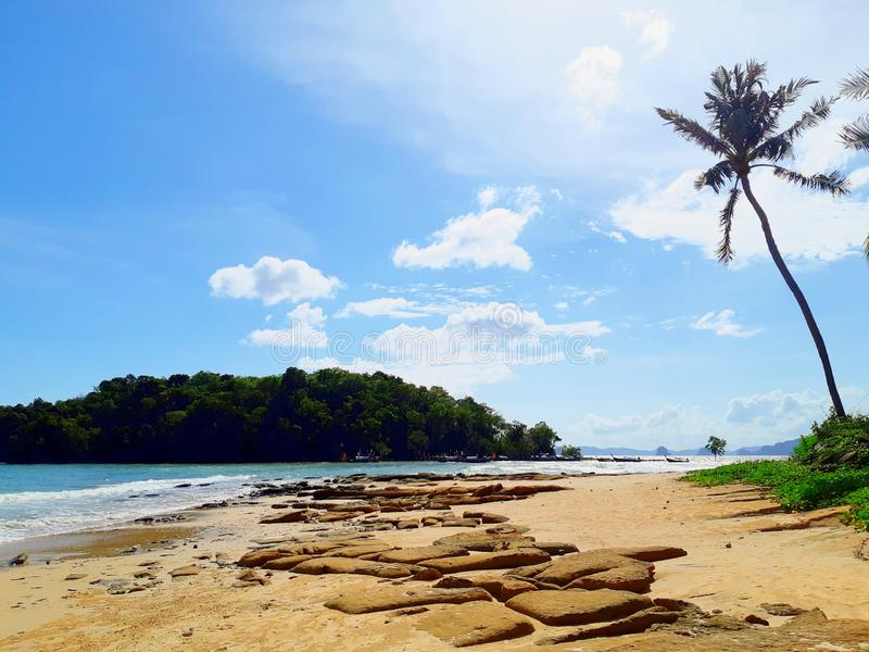blue beach with rock  in Thailand stock photos