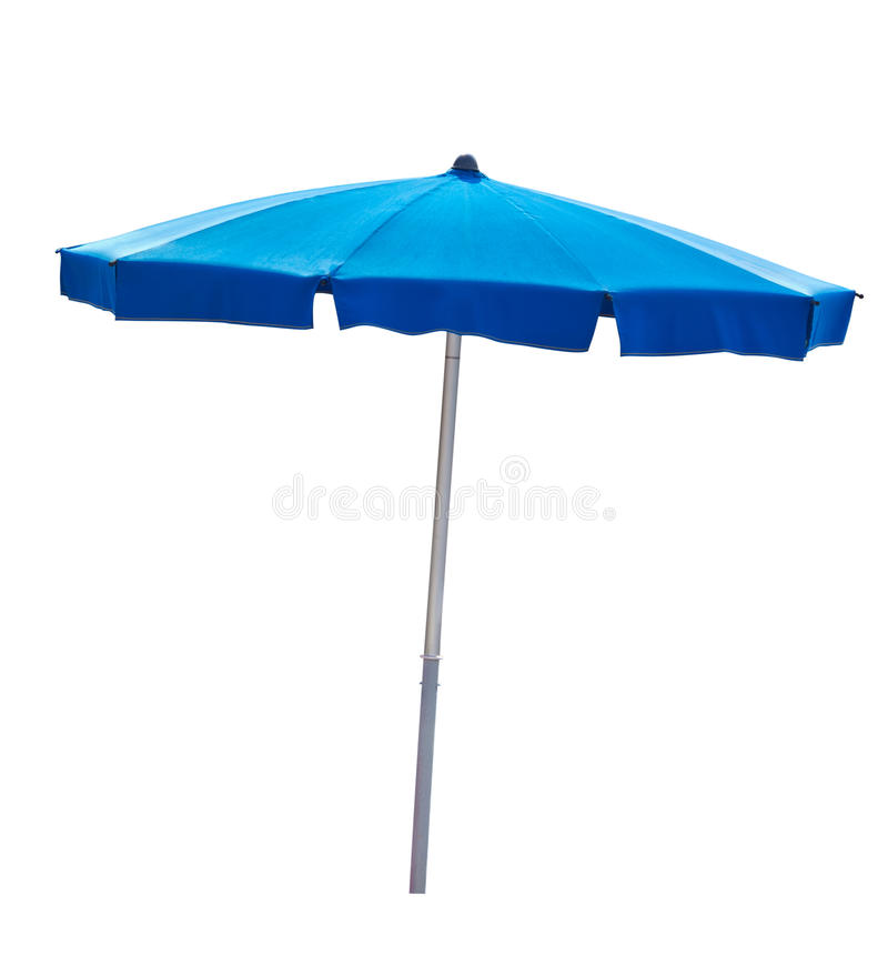 Blue beach umbrella isolated on white royalty free stock photos