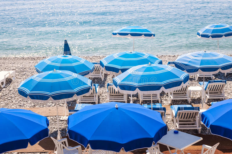 Blue Beach Umbrellas In Nice Stock Photo Image 52805928