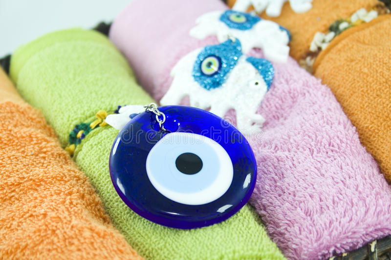 Blue bead. With colorful towels stock image