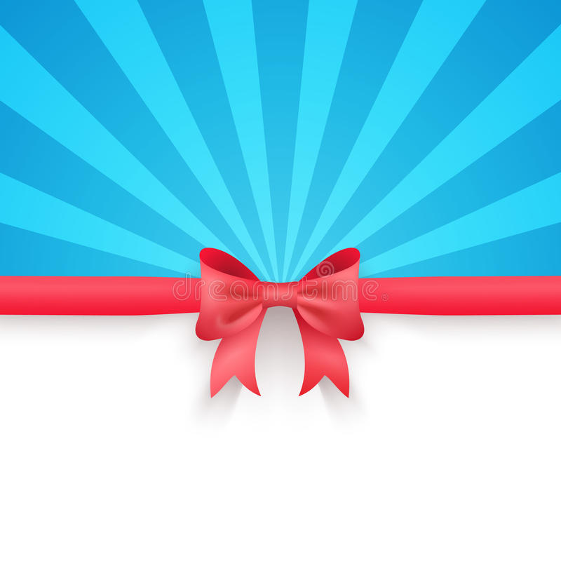 Blue beam background with cute red gift bow and stock illustration