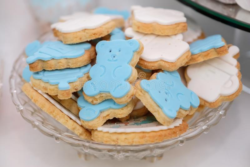 Blue bear cakes royalty free stock photography