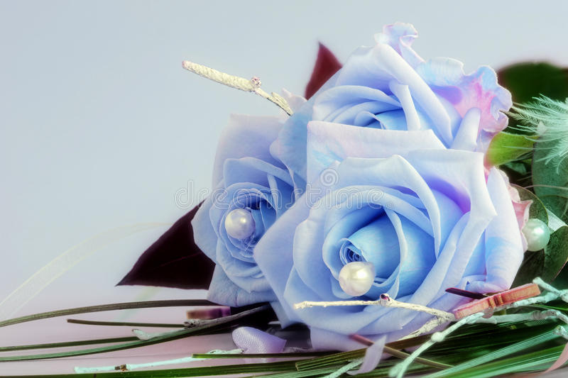Blue beauties. A bouquet of three blue roses stock photography