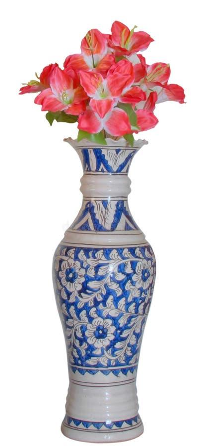 Blue beautiful antique flower vase pink flower HDR stock photo