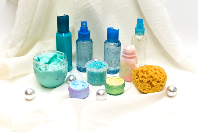Download Blue Beauty Products stock photo. Image of cleanser, colored - 8013470