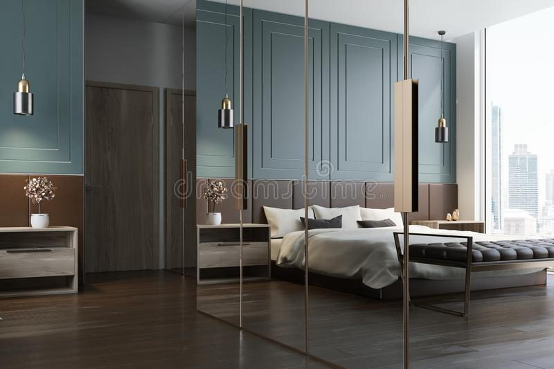 Blue bedroom interior reflection. Blue bedroom interior with a double bed with a white bedclothes and gray and white pillows, two bedside tables and a wardrobe stock illustration