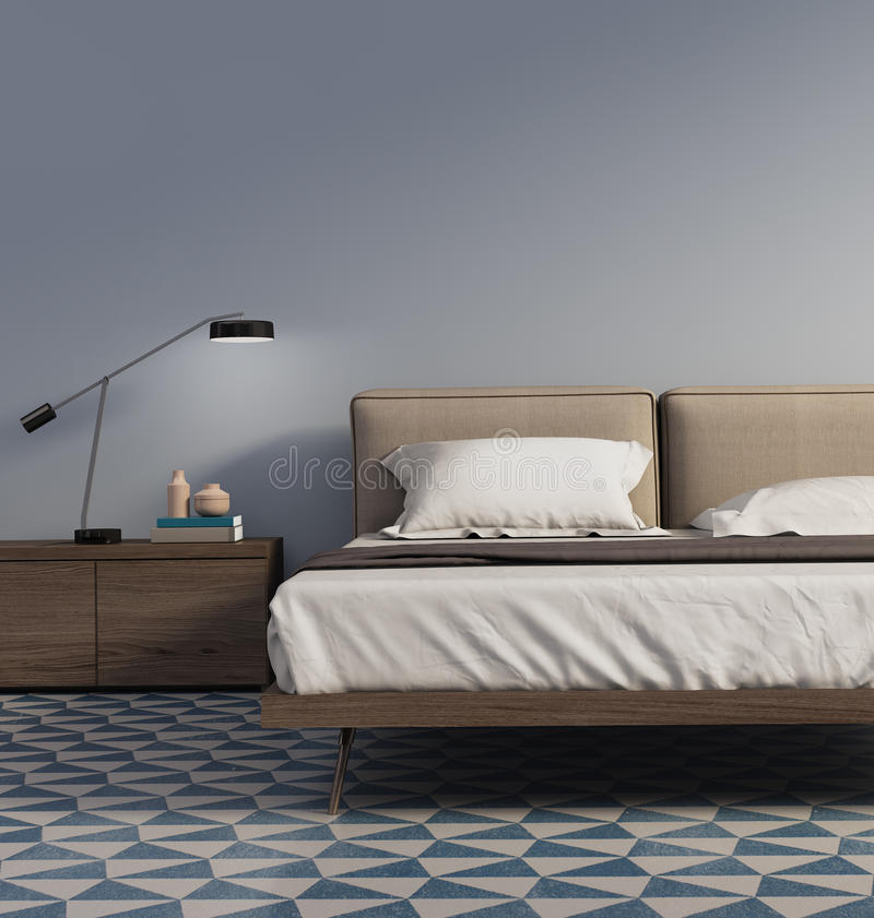 Blue bedroom with table lamp and tiles. Rendering of a Blue bedroom with table lamp and tiles