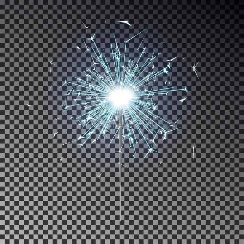 Blue bengal fire. New year sparkler candle isolated on transparent background. Realistic vector ligh vector illustration