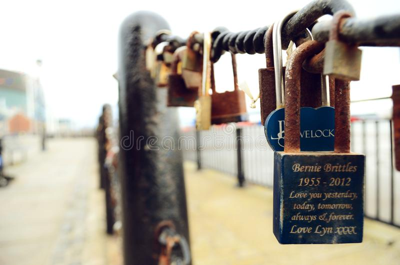 Blue Bernie Brittles 1955-2012 Love You Yesterday, Today, Tomorrow, Always and Forever Love Lyn Xxxx Engraved Padlock stock images