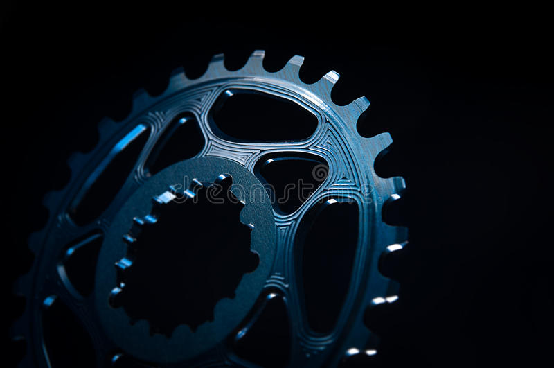 Blue Bicycle chainring royalty free stock image