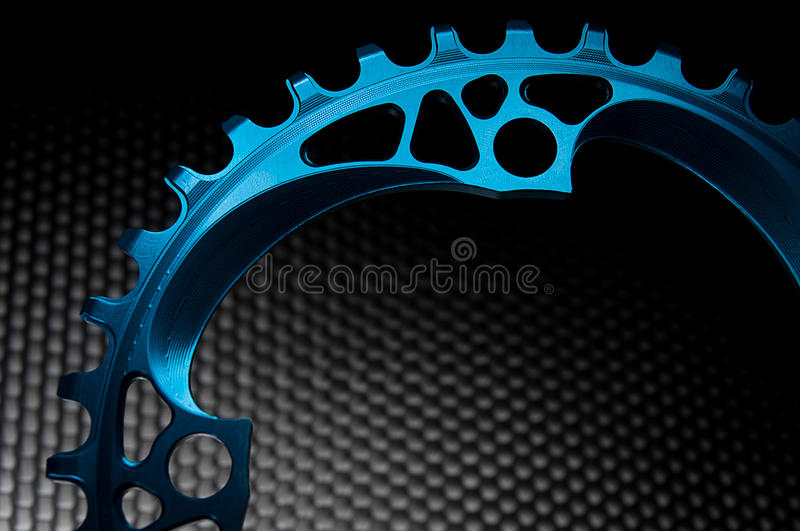 Blue Bicycle chainring stock photo