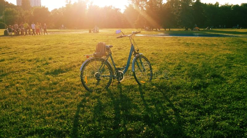 Blue bicycle standing on green lawn under sunshine with shadow on grass in park on Summer day with people on background. royalty free stock images