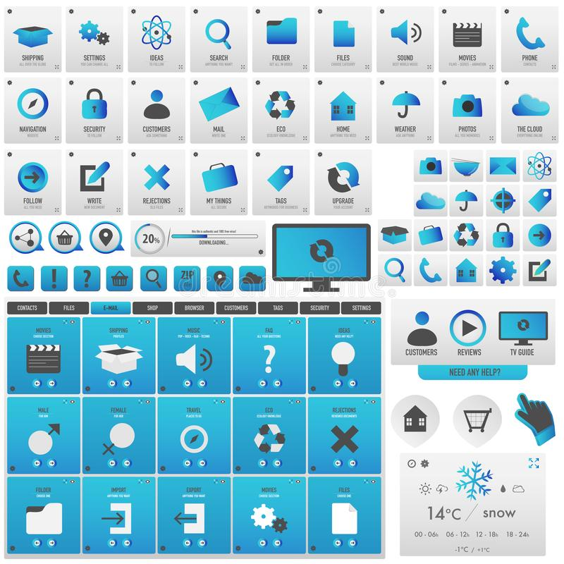 Blue big set of buttons for infographics. To decor your new business site stock illustration
