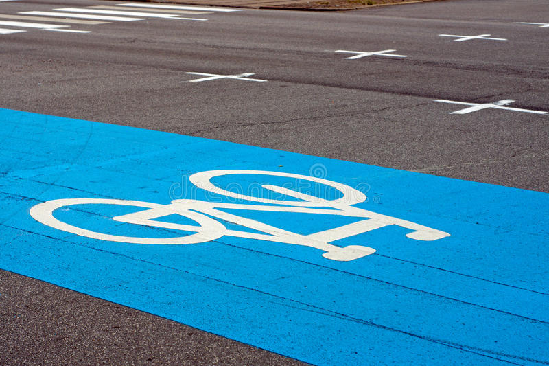 Download Blue bike lane stock photo. Image of diagonal, asphalt - 27101338