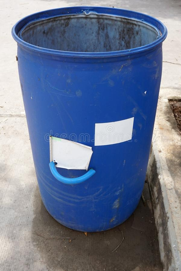 Blue bin in country Thailand. Close up blue bin in country Thailand royalty free stock photos