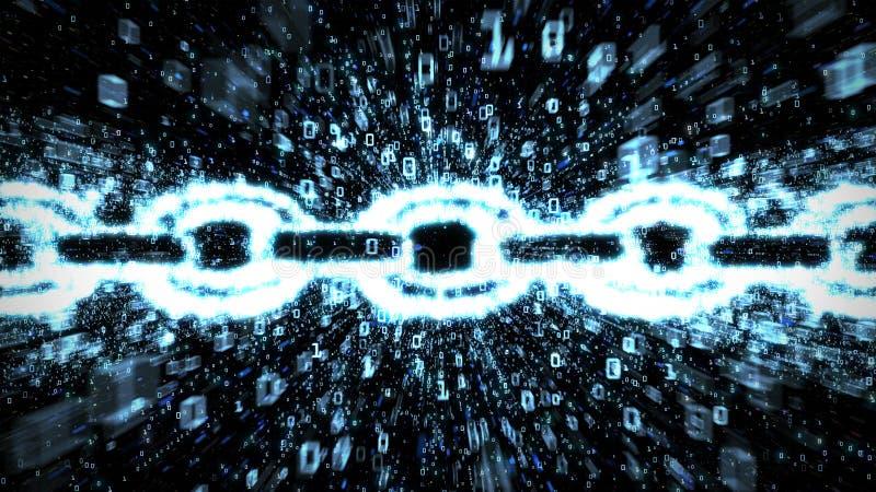 Blue blockchain binary explosion. Blue binary blockchain graphic with streams of exploding data representing modern e-commerce vector illustration