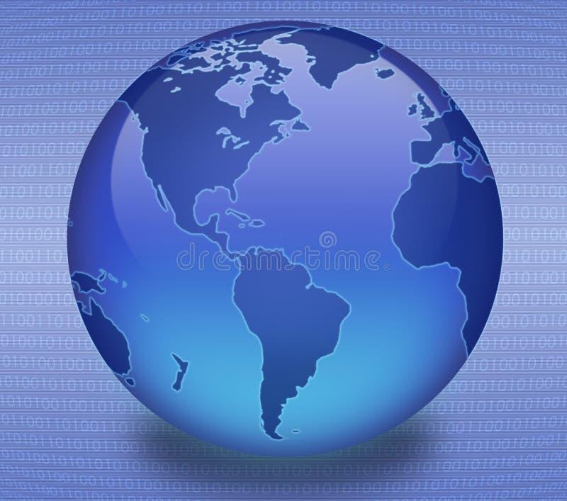 Blue Binary Globe. Shiny blue globe created in Photoshop with scan line/binary background